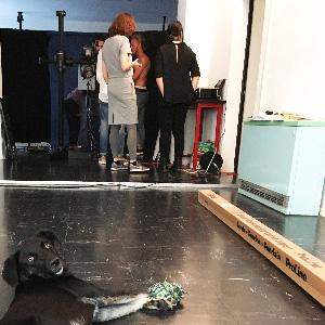 Der heimliche Star des Fotoshootings: Bürohund Tilda (Foto: Alke Müller-Wendlandt)